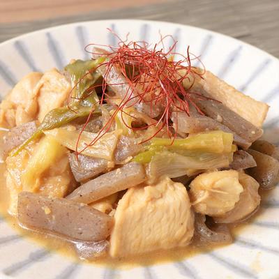 鶏むね肉と長ねぎの味噌煮込み
