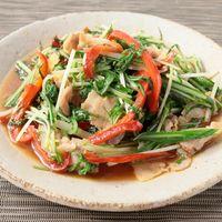 水菜と豚肉のゆず胡椒炒め