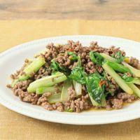 山東菜とひき肉のピリ辛炒め