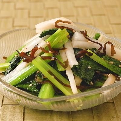 小松菜と大根の塩昆布和え