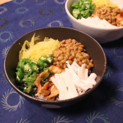 ネバネバ&発酵食品の五色丼