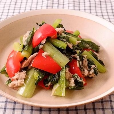 小松菜とパプリカのツナ炒め