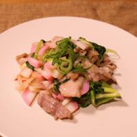 セロリの葉っぱと豚バラ肉のチリソース炒め