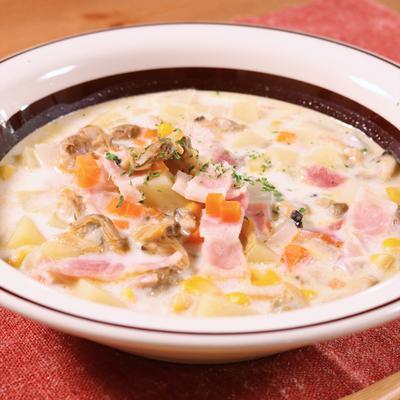 コーンとあさりの具沢山スープ