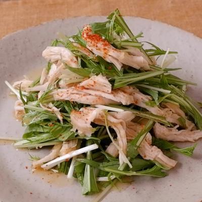 鶏むね肉と水菜の大根おろし和え