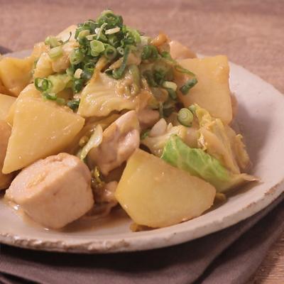 鶏肉とキャベツのゴマダレ炒め