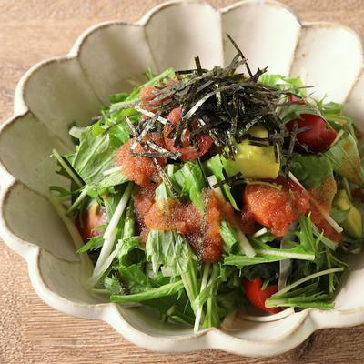 水菜の明太子ドレッシングサラダ