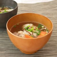 キノコたっぷり生姜入り鶏団子のスープ