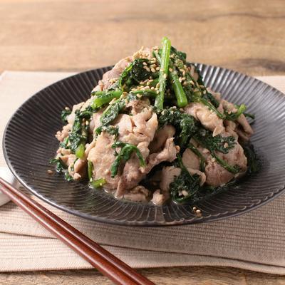 春菊と豚こまの味噌炒め