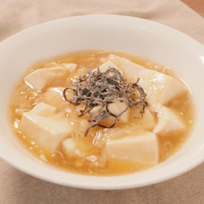 ねぎ塩昆布のあんかけ豆腐