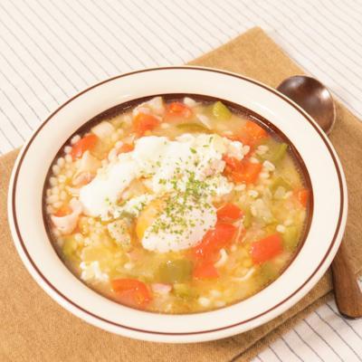 野菜たっぷりもち麦スープごはん