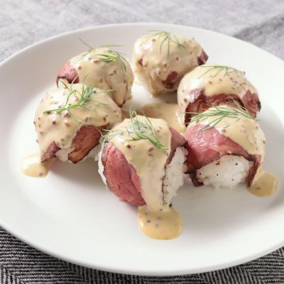 ローストビーフで 華やか洋風手まり寿司