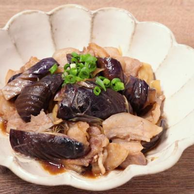 豚バラ肉とナスのミョウガ炒め