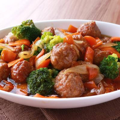 たっぷり野菜と甘酢あん肉団子