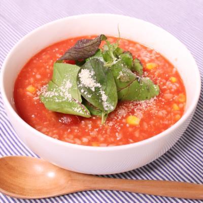 トマトジュースで!冷たいトマトリゾット風