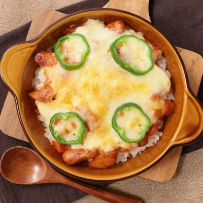ウインナーでお手軽 とろーりチーズのピザ風ごはんプレート