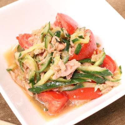 トマトときゅうりの中華風ツナサラダ