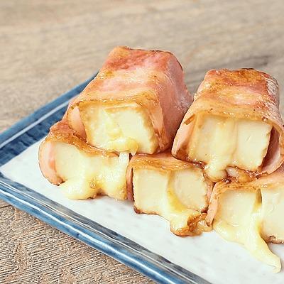 厚揚げチーズのベーコン巻き