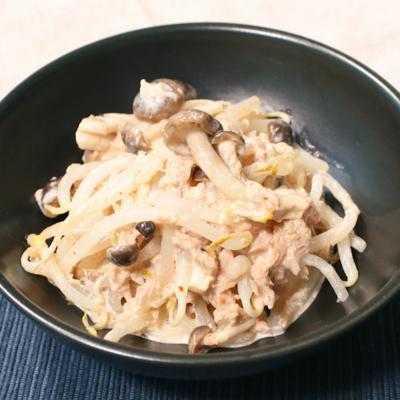 モヤシとツナのピリ辛マヨポン酢和え