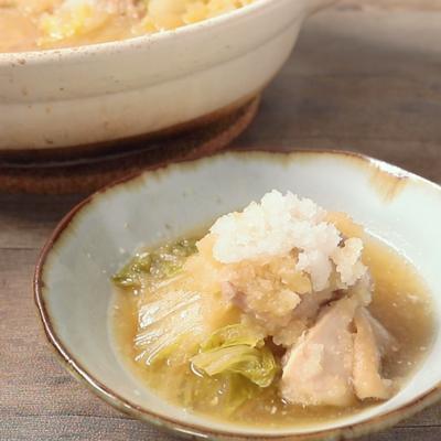 鶏肉と白菜の雪見鍋