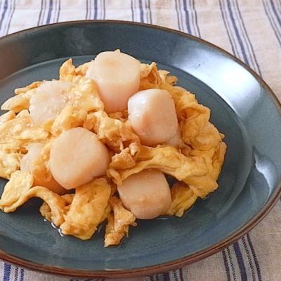 ホタテと卵のオイスターソース炒め
