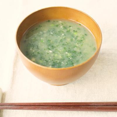 モロヘイヤとひきわり納豆のトロトロお味噌汁