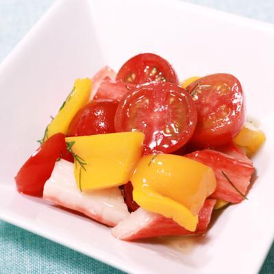 ディルで爽やかカニカマと夏野菜のマリネ