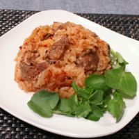 キムチと牛肉のピリ辛炊き込みご飯