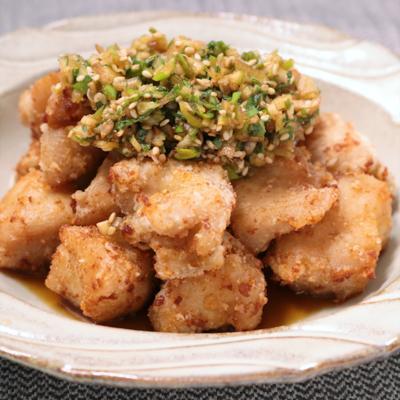 鶏むね肉で節約 揚げ鶏の香味ポン酢