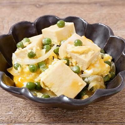 高野豆腐とグリンピースの卵とじ