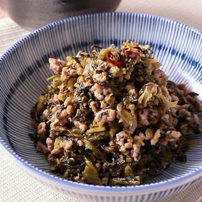 ご飯がすすむ 豚ひき肉と高菜のピリ辛炒め