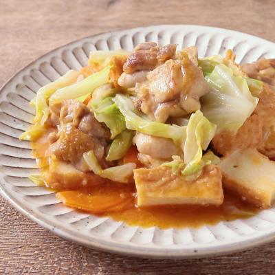 鶏もも肉と厚揚げの甘辛キャベツ炒め