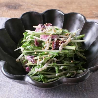 しば漬けとじゃこの水菜サラダ
