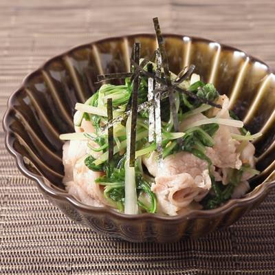 水菜と豚バラの中華和え
