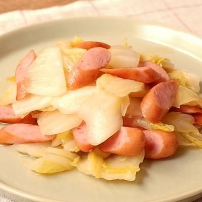 白菜とウインナーの旨塩炒め
