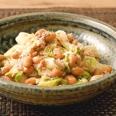 白菜と納豆のマヨ風味サラダ