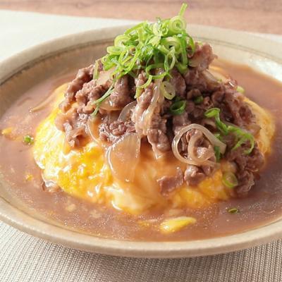 牛肉チーズたっぷりのせ天津飯