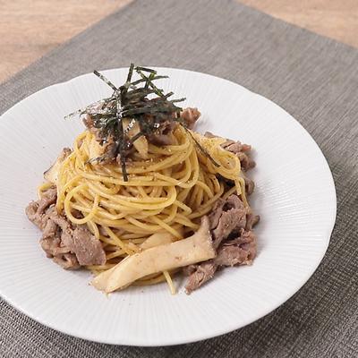 牛肉とエリンギの甘辛山椒スパゲティ