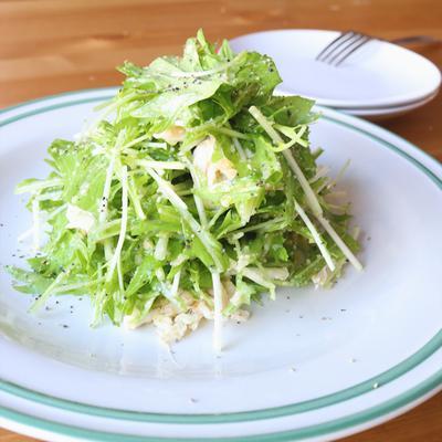 レンジで簡単!水菜とささみのたらこサラダ