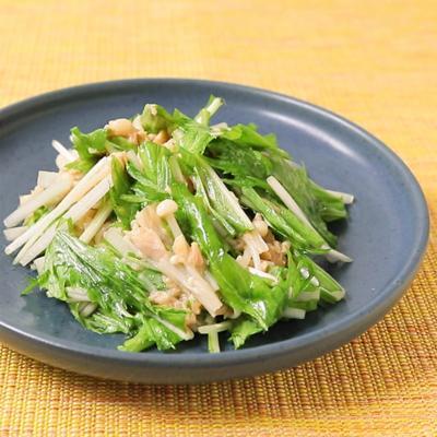 シャキシャキ水菜とえのきの中華和え