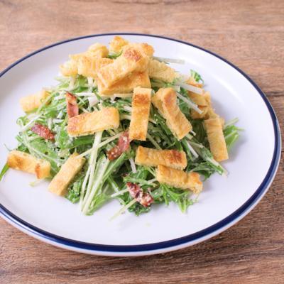 カリカリ油揚げと水菜のシーザーサラダ風