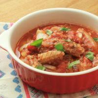 さばの水煮缶で トマト煮込み