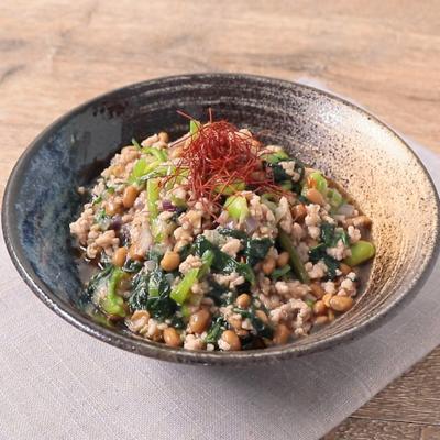 納豆入り ほうれん草とひき肉のピリ辛炒め