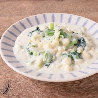 小松菜とカリフラワーのクリーム煮