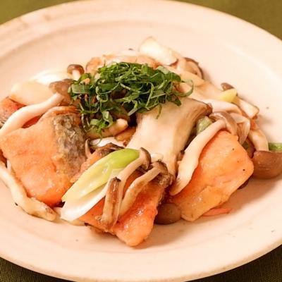 鮭ときのこのこってり味噌炒め