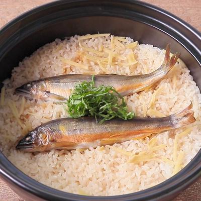 土鍋で 鮎の炊き込みごはん