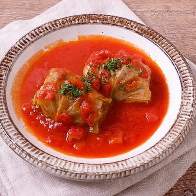 トマト缶で作る 簡単ロールキャベツ