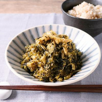 ご飯がすすむ 高菜と油揚げのごま炒め