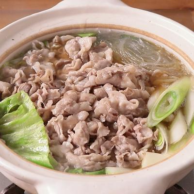 豚バラ肉とレタスの 無限ごま油鍋
