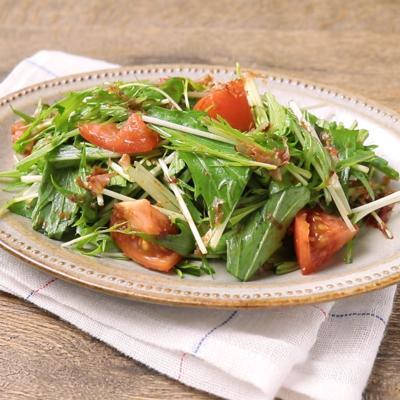 水菜とトマトの洋風かつお節サラダ